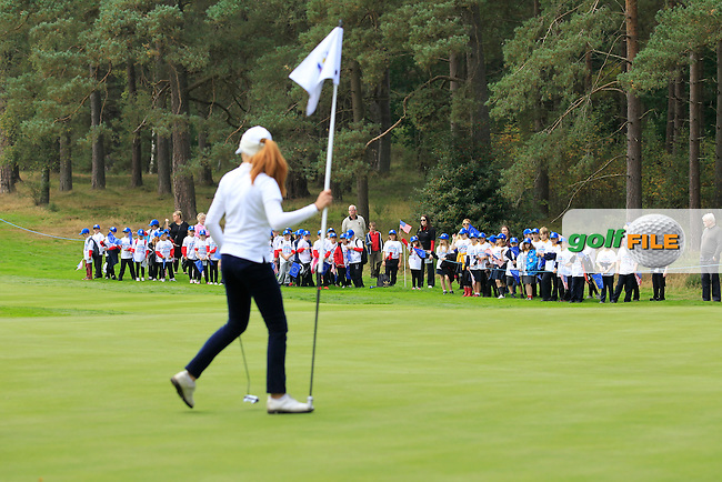 Mathilda Capelliez (FRA) on the 2nd green of the Mixed Fourballs, puts to go two up during the 2014 JUNIOR RYDER CUP at the Blairgowrie Golf Club, Perthshire, Scotland. <br /> Picture:  Thos Caffrey / www.golffile.ie