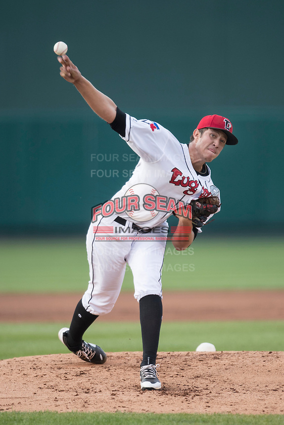 Lansing Lugnuts pitcher Osman Gutierrez (21) delivers a pitch to the plate during the Midwest League baseball game against the Bowling Green Hot Rods on June 29, 2017 at Cooley Law School Stadium in Lansing, Michigan. Bowling Green defeated Lansing 11-9 in 10 innings. (Andrew Woolley/Four Seam Images)