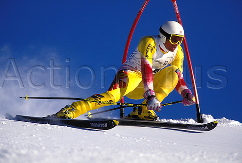 February 1994: View of SPENCER PESSION (GBR) competing in the Mens Giant Slalom, Winter Olympic Games, Lillehammer, Norway. Photo: Glyn Kirk/Action Plus...skiing skier snow .9402