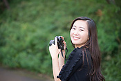 Portraits of a young Japanese lady modelling with an antique film camera.