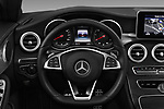 Car pictures of steering wheel view of a 2017 Mercedes Benz C-Class AMG-Line 2 Door convertible Steering Wheel