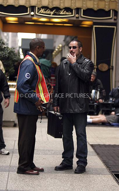 WWW.ACEPIXS.COM . . . . .  ....April 27 2008, New York City....Actors John Travolta and Denzel Washington on the set of the new movie 'The taking of Pelham 123' on Park Avenue in midtown manhattan.....Please byline: AJ Sokalner - ACEPIXS.COM..... *** ***..Ace Pictures, Inc:  ..te: (646) 769 0430..e-mail: info@acepixs.com..web: http://www.acepixs.com