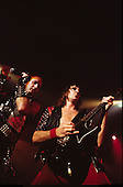 Judas Priest - vocalist Rob Halford and guitarist Glenn Tipton performing live the Metal Conqueror Tour at the Jaap Edenhall in Amsterdam Netherlands - 27 Jan 1984.  Photo credit: IconicPix