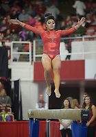 NWA Democrat-Gazette/ANDY SHUPE<br />Arkansas' Jessica Yamzon competes Friday, Jan. 12, 2018, in the beam portion of the 11th-ranked Razorbacks' meet with sixth-ranked Kentucky in Barnhill Arena in Fayetteville. Visit nwadg.com/photos to see more photographs from the meet.