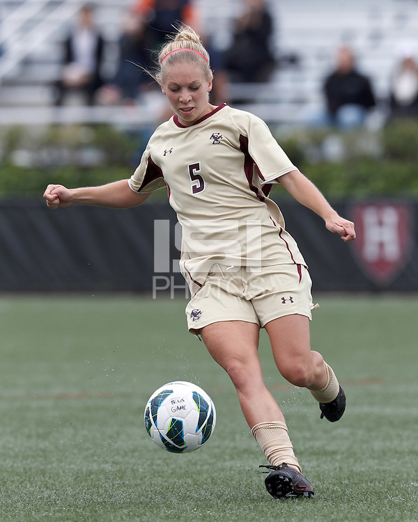 Boston College midfielder Lauren Bernard (5) brings the ball forward. Pepperdine University defeated Boston College,1-0, at Soldiers Field Soccer Stadium, on September 29, 2012.