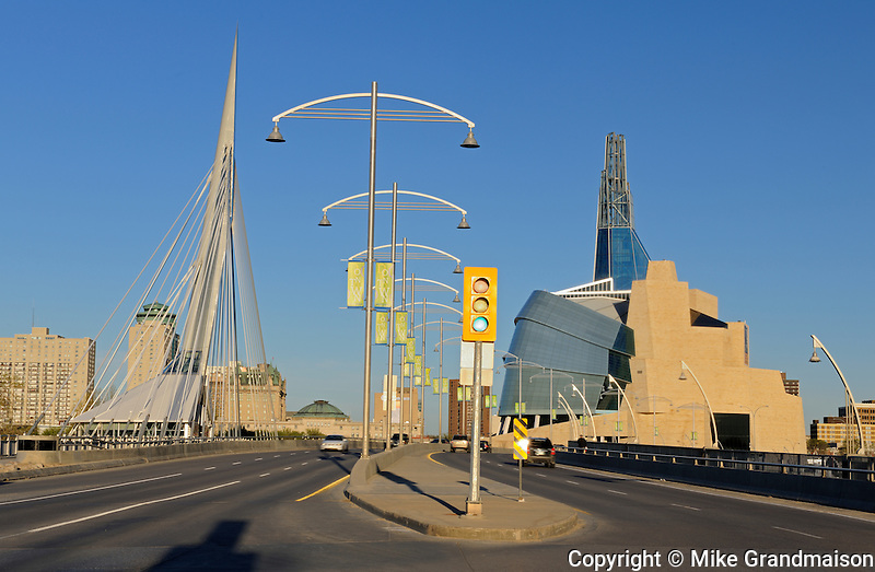 Canadian Museum for Human Rights (CMHR) from the Esplanade Riel Bridge<br /> Winnipeg<br /> Manitoba<br /> Canada