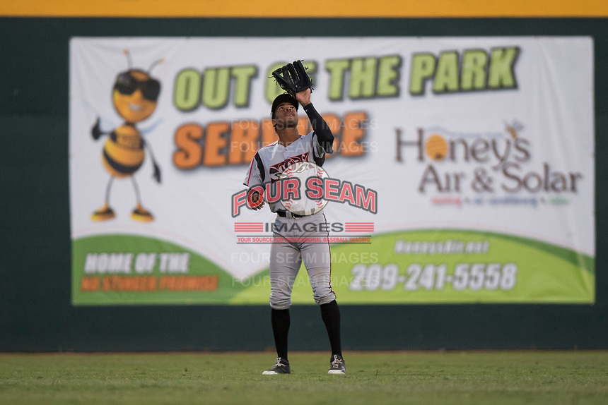 Lake Elsinore Storm left fielder Buddy Reed (23) prepares to catch a fly ball during a California League game against the Modesto Nuts at John Thurman Field on May 12, 2018 in Modesto, California. Lake Elsinore defeated Modesto 4-1. (Zachary Lucy/Four Seam Images)