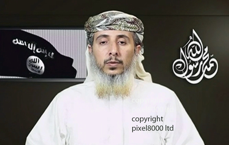 pic shows:  Nasr al-Ansi, a commander of Al Qaeda in the Arabian Peninsula, or AQAP<br /> <br /> A top leader of Yemen's Al Qaeda branch has claimed responsibility for last week's attack on a Paris newspaper when two masked gunmen killed 12 people, including much of the weekly's editorial staff and two police officers.<br /> Nasr al-Ansi, a commander of Al Qaeda in the Arabian Peninsula, or AQAP as the branch is known, appeared in an 11-minute internet video, saying that the massacre at Charlie Hebdo was in 'vengeance for the prophet'.<br /> The paper had published cartoons of the Prophet Mohammed, which is considered an insult in Islam.<br /> <br /> <br /> <br /> <br /> <br /> Pic supplied by Pixel 8000 Ltd