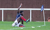 Matt Williams of London Scottish celebrates his try during the Greene King IPA Championship match between London Scottish Football Club and Jersey at Richmond Athletic Ground, Richmond, United Kingdom on 7 November 2015. Photo by Andy Rowland.