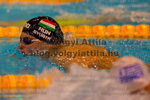 Daniel Gyurta of Hungary competes in the Men's 200m Breaststroke of the 31th European Swimming Championships in Debrecen, Hungary on May 23, 2012. ATTILA VOLGYI
