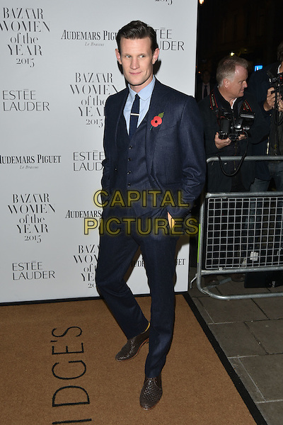 Matt Smith <br /> Harper's Bazaar Women of the Year 2015 awards,  Claridges Hotel n London, November 03, 2015.<br /> CAP/PL<br /> &copy;Phil Loftus/Capital Pictures