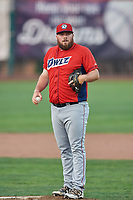 Nick Jobst (46) of the Orem Owlz looks in for the sign during a game against the Ogden Raptors at Lindquist Field on August 3, 2018 in Ogden, Utah. The Raptors defeated the Owlz 9-4. (Stephen Smith/Four Seam Images)