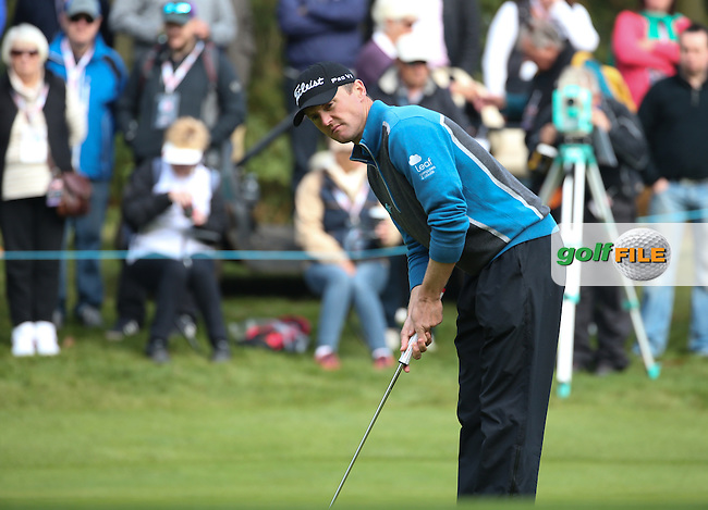 Michael Hoey (NIR) in action during the Final Round of the British Masters 2015 supported by SkySports played on the Marquess Course at Woburn Golf Club, Little Brickhill, Milton Keynes, England.  11/10/2015. Picture: Golffile | David Lloyd<br /> <br /> All photos usage must carry mandatory copyright credit (&copy; Golffile | David Lloyd)