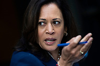 """United States Senator Kamala Harris (Democrat of California),  speaks during the US Senate Judiciary Committee hearing titled """"Examining Best Practices for Incarceration and Detention During COVID-19,"""" in Dirksen Building in Washington, D.C. on Tuesday, June 2, 2020.<br /> Credit: Tom Williams / Pool via CNP/AdMedia"""