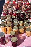 USA, Oregon, Ashland, Pennington Farms Jam for sale at the Rogue Valley Growers and Crafters Market