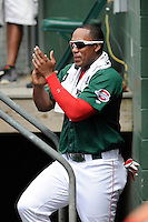 Outfielder Carlos Mesa (28) of the Greenville Drive cheers on his team before a game against the Rome Braves on Sunday, June 14, 2015, at Fluor Field at the West End in Greenville, South Carolina. Rome won, 5-2. (Tom Priddy/Four Seam Images)