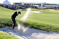 Lorenzo Gagli (ITA) plays his 3rd shot from a fairway bunker on the 18th hole during Sunday's Final Round of the Bankia Madrid Masters at El Encin Golf Hotel, Madrid, Spain, 9th October 2011 (Photo Eoin Clarke/www.golffile.ie)