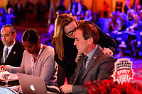 Philadelphia, PA - Thursday January 18, 2018: Laura Harvey, Jim Gabarra during the 2018 NWSL College Draft at the Pennsylvania Convention Center.