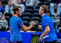 Alphen aan den Rijn, Netherlands, December 15, 2018, Tennispark Nieuwe Sloot, Ned. Loterij NK Tennis, Semifinal men: Jelle Sels (NED) (R) defeats Ryan Nijboer (NED)<br /> Photo: Tennisimages/Henk Koster