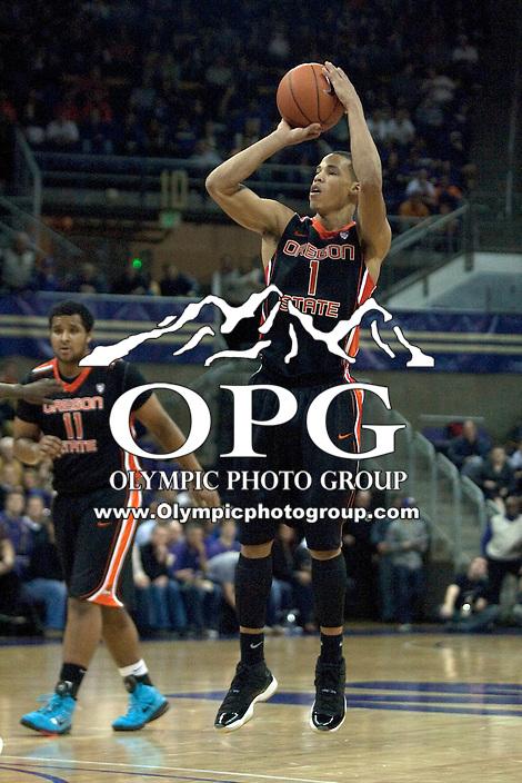 Dec 29, 2011:  Oregon States #1 Jared Cunningham against Washington.  Washington defeated Oregon State 95-80 at Alaska Airlines Arena Seattle, Washington...