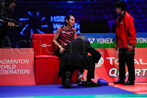 18th March 2018, Arena Birmingham, Birmingham, England; Yonex All England Open Badminton Championships; Tai Tzu Ying (TPE) receives some treatment in the womens singles the final against Akane Yamaguchi (JPN)