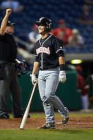 Jupiter Hammerheads catcher Chris Hoo (8) walks back to the dugout on a strike three call during the second game of a doubleheader against the Clearwater Threshers on July 25, 2015 at Bright House Field in Clearwater, Florida.  Clearwater defeated Jupiter 2-1.  (Mike Janes/Four Seam Images)