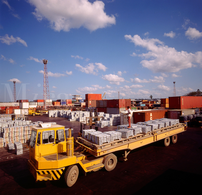 Zinc bars and other freight at shipping terminal. Dar-es-Salaam. Tanzania. Africa..