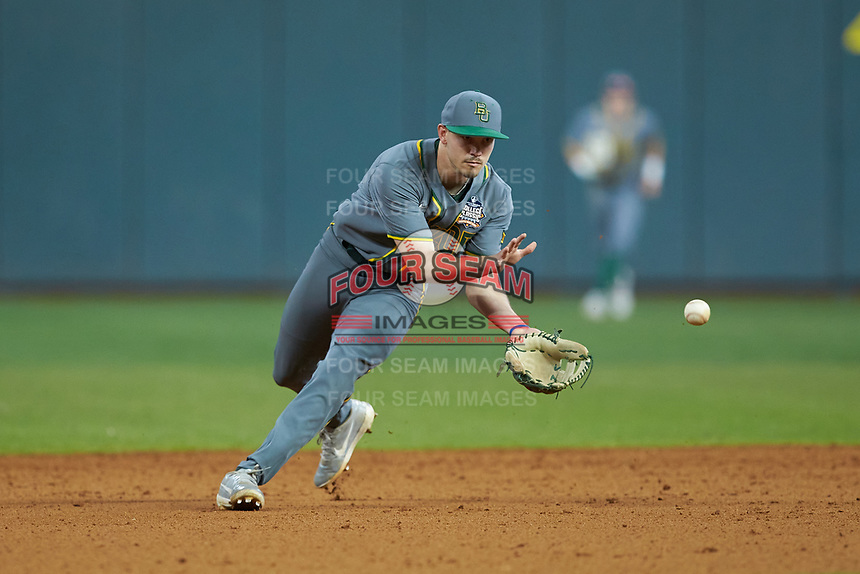 Baylor Bears shortstop Nick Loftin (2) fields a ground ball during the game against the Arkansas Razorbacks in game nine of the 2020 Shriners Hospitals for Children College Classic at Minute Maid Park on March 1, 2020 in Houston, Texas. The Bears defeated the Razorbacks 3-2. (Brian Westerholt/Four Seam Images)