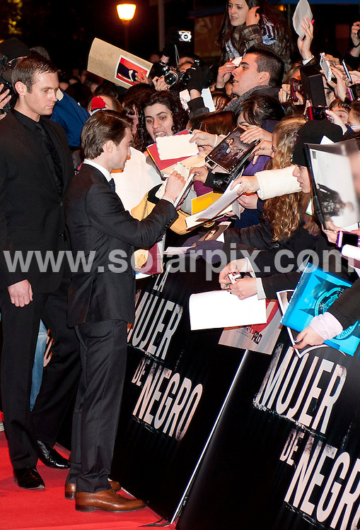 **ALL ROUND PICTURES FROM SOLARPIX.COM**                                             **WORLDWIDE SYNDICATION RIGHTS EXCEPT SPAIN - NO SYNDICATION IN SPAIN**                                                                                  Caption: MADRID, SPAIN .  Daniel Radcliffe attends 'The Woman in Black' (La Mujer de Negro) premiere  in Madrid                                                                                       JOB REF: 14478       DMS       DATE:  14.02.2012                                                          **MUST CREDIT SOLARPIX.COM OR DOUBLE FEE WILL BE CHARGED**                                                                      **MUST AGREE FEE BEFORE ONLINE USAGE**                               **CALL US ON: +34 952 811 768 or LOW RATE FROM UK 0844 617 7637**