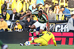 06 December 2015: Portland's Fanendo Adi (NGA) (9) and Columbus's Waylon Francis (CRC) (14). The Columbus Crew SC hosted the Portland Timbers FC at Mapfre Stadium in Columbus, Ohio in MLS Cup 2015, Major League Soccer's championship game. Portland won the game 2-1.