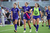 Orlando, FL - Tuesday August 08, 2017: Steph Catley, Alanna Kennedy, Maddy Evans during a regular season National Women's Soccer League (NWSL) match between the Orlando Pride and the Chicago Red Stars at Orlando City Stadium.
