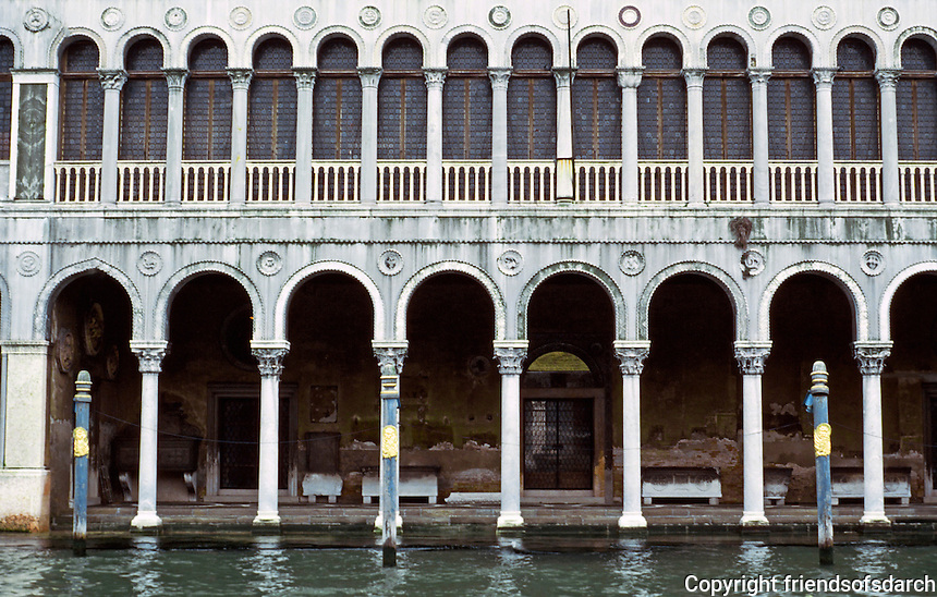 Venice:  Palazzo--Arches and water.  Photo '83.