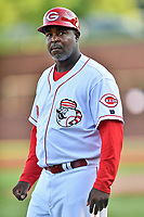 Greeneville Reds manager Gookie Dawkins (9) during a game against the Bluefield Blue Jays at Pioneer Park on June 30, 2018 in Greeneville, Tennessee. The Blue Jays defeated the Red 7-3. (Tony Farlow/Four Seam Images)