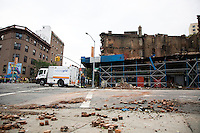 The aftermath on Saturday, 04 June 2011 of a four-alarm fire that broke out on the corner of St. Johns Place and Washington Avenue in Prospect Heights, Brooklyn, New York around 4:30am Saturday morning.