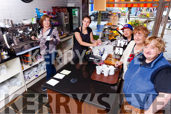 Despite any mains water it was business as usual in Lynch's Cafe and Bakery Listowel who opened to customers on Monday morning. Pictured were: Mary Lynch (Manager) with Clodagh Leahy (staff) with Lisa and Margaret Joy and Helen Enright, all from Listowel.