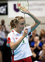 17 OCT 2009 - LOUGHBOROUGH, GBR - Donna Kellogg applauds the crowd after her mixed doubles victory with Anthony Clark in the Team England v Japan International (PHOTO (C) NIGEL FARROW)