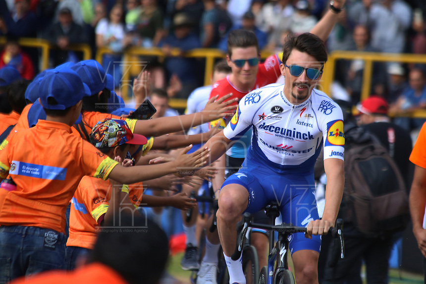 TUNJA - COLOMBIA, 11-02-2020: Julian<br /> Alaphilippe (FRA) del equipo DECEUNINCK - QUICK STEP durante la primera del Tour Colombia 2.1 2020 que se correrá en Boyacá, Colombia entre el 11 y 16 de febrero de 2020. / Julian<br /> Alaphilippe (FRA) of team DECEUNINCK - QUICK STEP during the launch of Tour Colombia 2.1 2020 that that will run between February 11 and 16, 2020 in Boyacá, Colombia.  Photo: VizzorImage / Darlin Bejarano / Cont