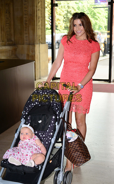 Ariana &amp; Imogen Thomas<br /> The screening of Disney's &quot;the Little Mermaid&quot; held at the Royal Albert Hall, London, England.<br /> August 29th, 2013<br /> full length pink white dress headband coral orange dress lace mother mom mum daughter family pushchair buggy<br /> CAP/BF<br /> &copy;Bob Fidgeon/Capital Pictures