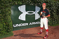 Pitcher Joe Gatto (33) of St. Augustine Prep in Hammonton, New Jersey poses for a photo before the Under Armour All-American Game on August 24, 2013 at Wrigley Field in Chicago, Illinois.  (Mike Janes/Four Seam Images)