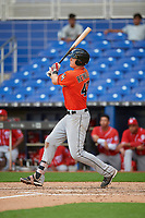 Miami Marlins Sean Reynolds (47) follows through on a swing during a Florida Instructional League game against the Washington Nationals on September 26, 2018 at the Marlins Park in Miami, Florida.  (Mike Janes/Four Seam Images)