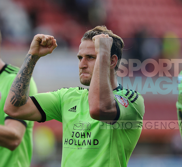 Billy Sharp of Sheffield United celebrates towards the sheffield united fans at the end of the game<br /> - English League One - Swindon Town vs Sheffield Utd - County Ground Stadium - Swindon - England - 29th August 2015