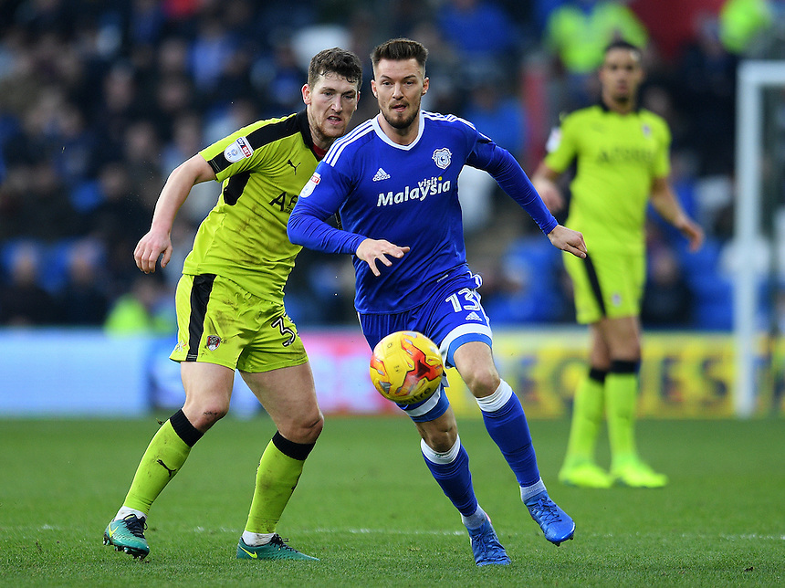 Cardiff City's Anthony Pilkington in action<br /> <br /> Photographer Ashley Crowden/CameraSport<br /> <br /> The EFL Sky Bet Championship - Cardiff City v Rotherham United - Saturday 18th February 2017 - Cardiff City Stadium - Cardiff<br /> <br /> World Copyright &copy; 2017 CameraSport. All rights reserved. 43 Linden Ave. Countesthorpe. Leicester. England. LE8 5PG - Tel: +44 (0) 116 277 4147 - admin@camerasport.com - www.camerasport.com