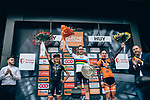 World Champion Anna van der Breggen (NED) Boels Dolmans Cyclingteam wins her 5th consecutive edition atop Mur de Huy with Annemiek van Vleuten (NED) Mitchelton-Scott Women 2nd and Annika Langvad (DEN) Boels Dolmans Cyclingteam 3rd place at the end of La Fl&egrave;che Wallonne Femmes 2019, running 118.5km from Huy to Huy, Belgium. 24th April 2019<br /> Picture: ASO/Thomas Maheux | Cyclefile<br /> All photos usage must carry mandatory copyright credit (&copy; Cyclefile | ASO/Thomas Maheux)