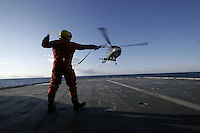 Air operations with a Westland Lynx helicopter. Coastguard vessel KV Svalbard patrols the northermost waters of Norway, including around the islands that she is named after. The main task is inspecting fishing boats, but she also performs search and rescue missions, and environmental monitoring.