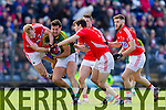 Anthony Maher Kerry in action against Michael Shields and Jamie O'Sullivan Cork in the National Football League at Pairc Ui Rinn, Cork on Sunday.