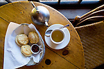Traditional Tea and Scones served at the Lake Agnes Tea House.  The Lake Agnes Tea House was originally built in 1901 by the Canadian Pacific Railway, as a refuge for hikers and started serving tea in 1905. The log building was replaced in 1981 but still features the original windows, tables and chairs. Situated near Lake Louise, Alberta, Canada, at an altitude of 2,135 meters, (7,005 ft), the Tea House is located on the shores of Lake Agnes. To access the Tea House, take a forested 3.5 km hike from the Chateau Fairmont Lake Louise, with an elevation gain of 400 m or 1,300 ft.  Together with Mirror Lake and Lake Louise, these lakes are often referred to as the 'Lakes in the Clouds'. Lake Agnes was named for original First Lady of Canada - Lady Agnes MacDonald, the wife of Canada's first Prime Minister.