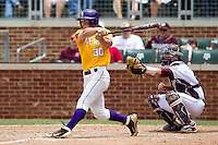 LSU Tigers shortstop Alex Bregman (30) follows through on his swing against the Texas A&M Aggies in the NCAA Southeastern Conference baseball game on May 11, 2013 at Blue Bell Park in College Station, Texas. LSU defeated Texas A&M 2-1 in extra innings to capture the SEC West Championship. (Andrew Woolley/Four Seam Images).