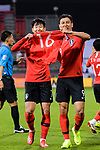 Son Heungmin of South Korea (L) and Ji Dongwon of South Korea (L) celebrates by holding the jersey of Ki Sungyueng of South Korea (not in picture) during the AFC Asian Cup UAE 2019 Round of 16 match between South Korea (KOR) and Bahrain (BHR) at Rashid Stadium on 22 January 2019 in Dubai, United Arab Emirates. Photo by Marcio Rodrigo Machado / Power Sport Images