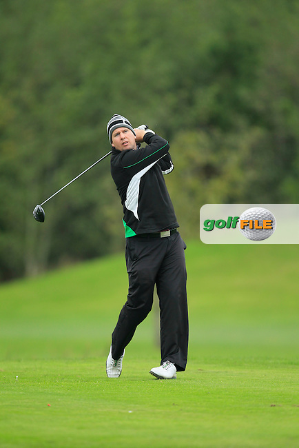 Michael McDermott (Pure Golf Leopardstown) on the 16th tee during Round 3 of The Cassidy Golf 103rd Irish PGA Championship in Roganstown Golf Club on Saturday 12th October 2013.<br /> Picture:  Thos Caffrey / www.golffile.ie