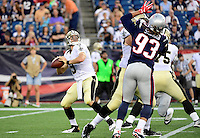 Thursday August 11, 2016: New Orleans Saints quarterback Drew Brees (9) drops back to pass during an NFL pre-season game between the New Orleans Saints and the New England Patriots held at Gillette Stadium in Foxborough Massachusetts. The Patriots defeat the Saints 34-22 in regulation time. Eric Canha/CSM